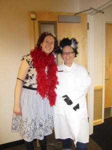 My coworker, the fabulous Miss Katie, as Fancy Nancy, and me as a mad scientist.